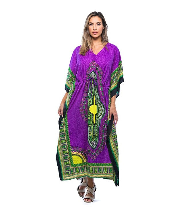 0fbb3b04772 African Print Dashiki Maxi Caftan For Women at Amazon Women s Clothing store   Hover to zoom
