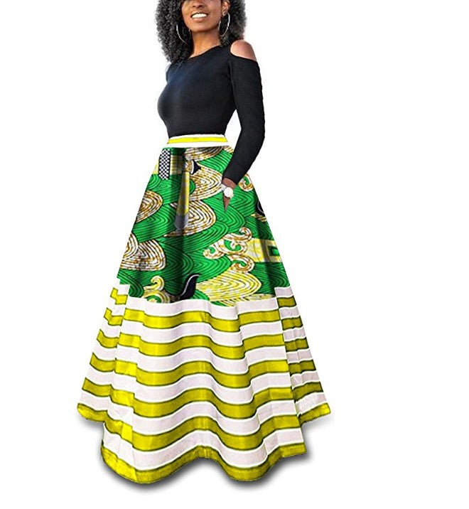 4aaa6b61a3 Women's Dashiki African Print Skirts Boho High Waist Color Striped ...