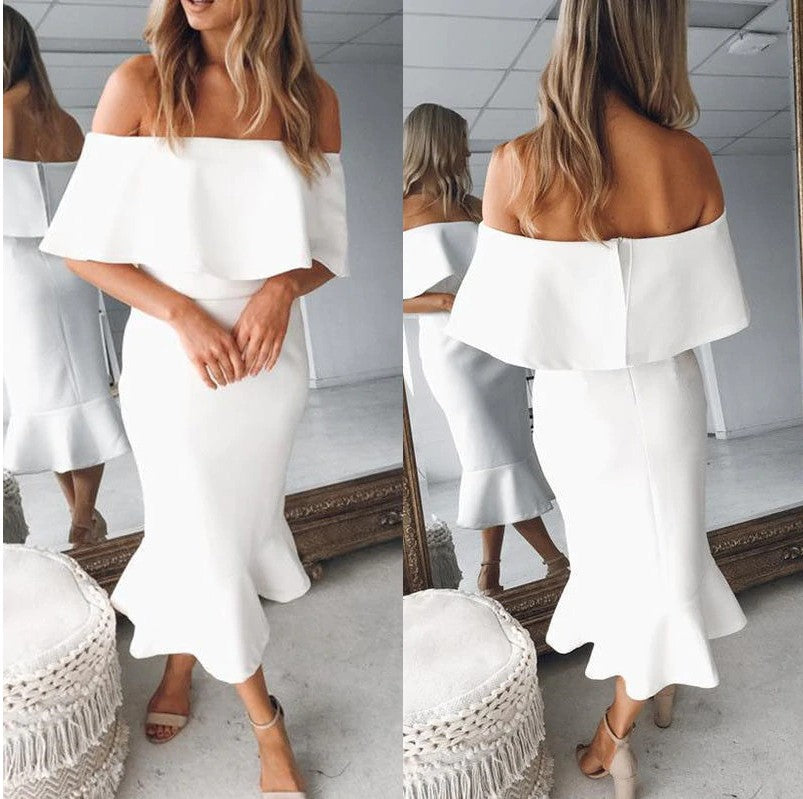 bca1b19cca SHEIN White Party Elegant Sheer Lace Trim Layered Foldover Ruffle Hem Off  the Shoulder Fishtail Dress. Hover to zoom