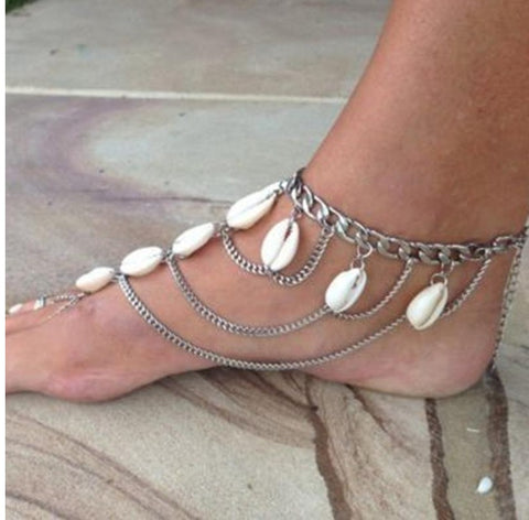 Best lady 2016 Summer New Fashion Shell Tassel Pendant Ankle Bracelet ChainFoot Beach Jewelry Barefoot Sandals Anklet Women 3317
