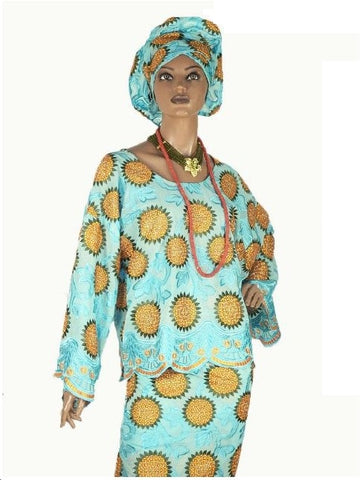 3PC TOP(BUBA), WRAPPER(IRO) AND HEADWRAP IN LACE ( NOT GELE )