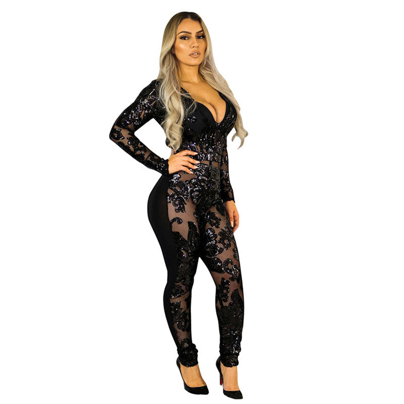 271e68106742 See Through Black Sequin Jumpsuit Women Long Sleeve Sparkly Bodycon  Jumpsuits Sexy Rompers Glitter Club Party Jumpsuits Overalls