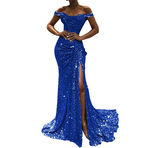 Sensual slash neck maxi dress gathering patchwork sequined party dress high split pleated banquet night dress full length suits