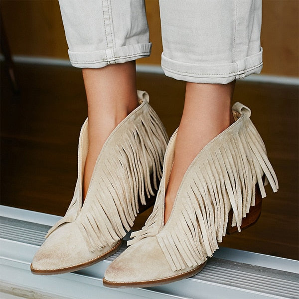 484fc1b1e02 Sestito 2018 Woman Fashion Front V Slip-on Tassel Ankle Boots Girls Chunky  Heels Dress Runway Shoes Lady Pointed Toe Ankle Boots