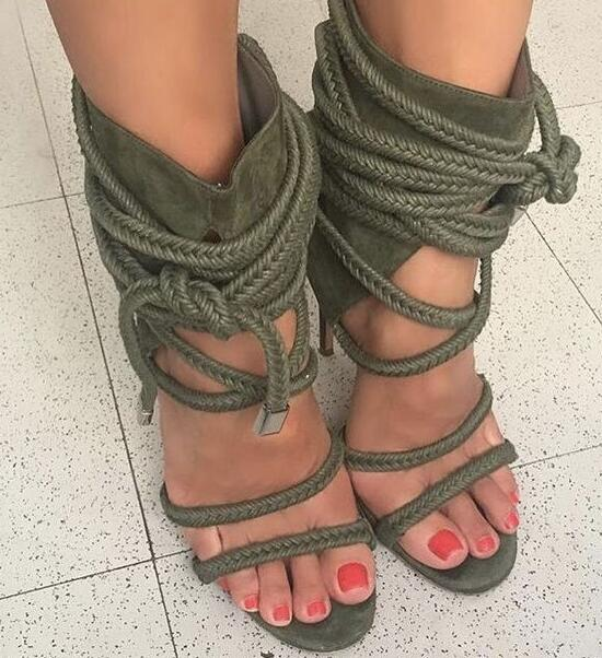 1a6da3283f0 Sestito Woman Fashion Rope Lace-up Gladiator Army Green Sandals Boots  Ladies Thin High Heels Ankle Boots Girls Peep Toe Shoes