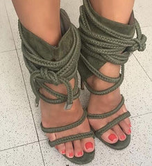 Sestito Woman Fashion Rope Lace-up Gladiator Army Green Sandals Boots Ladies  Thin High Heels ... c28c55a01fb8