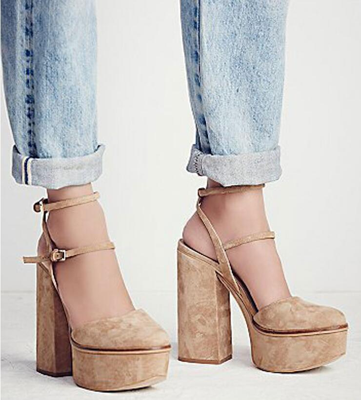 ca428eee9854 Sestito Woman Sexy Thick Platform 2 Straps Summer Gladiator Sandals Lady  Round Toe Square Thick High ...