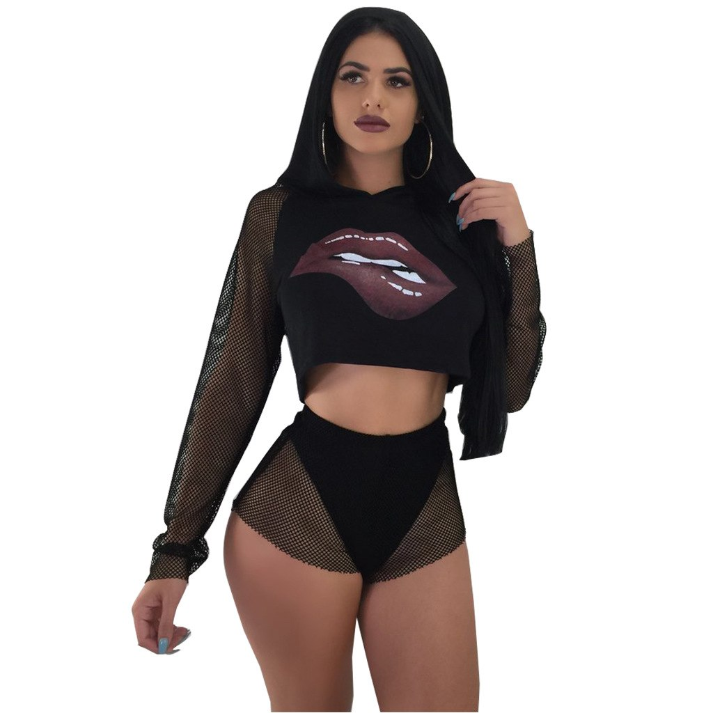 7b3a4d22573f SexeMara Lip Print Mesh Sexy 2 Piece Outfits for Women Long Sleeve Hooded Crop  Tops and. Hover to zoom