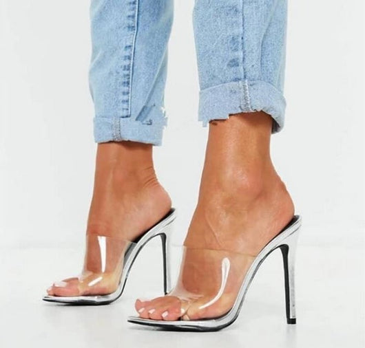 Sexy Clear PVC Transparent Peep Toe High Heel Sandals Cut-out Mules Slides Ladies Flop Slippers Jelly Sandals Shoes Customized