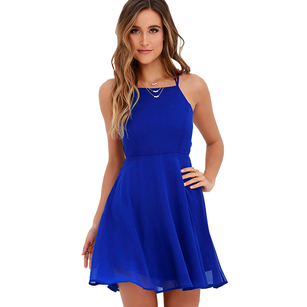 fad4f1f8a9 ... Sexy Club Royal Blue Lace Up Backless Spaghetti Strap Skater Dress A Line  Purple Party Vestido ...
