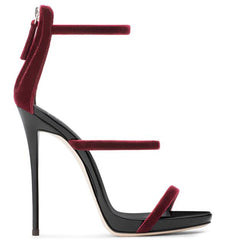 Sexy Club Wearing Thin Heels Open Toe Sandal for Woman Wine Red Velvet Cutouts High heel Gladiator Shoe Ankle Strap Shoe