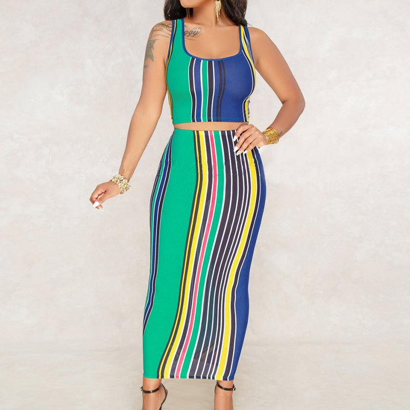 d8385e2607dfe Hover to zoom · Sexy Colorful Vertical Striped Bodycon Dresses 2018  Sleeveless ...