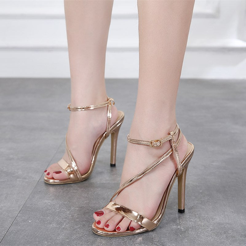 efcde96f50 Sexy Elegance Brand design Peep toe Buckle strap Glittering Thin high-heeled  sandals shoes Women. Hover to zoom