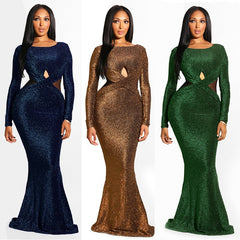 Sexy Front Open Back Backless Long Sleeve Autumn Winter Party Dress Women O  Neck Sequined Floor ... cbc34a9a6d3c