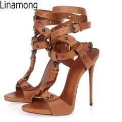 e437d00f3f Sexy Gladiator Stiletto High Heel Sandals Strappy Circle Cross Ankle Strap  Buckle Shoes Women Open toe ...