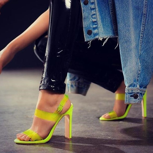 Sexy Lemon Fluorescent Color Womens Square Heel Sandals Peep Toe PVC Transparent Strap Chunky Heels Summer Shoes Real Photo