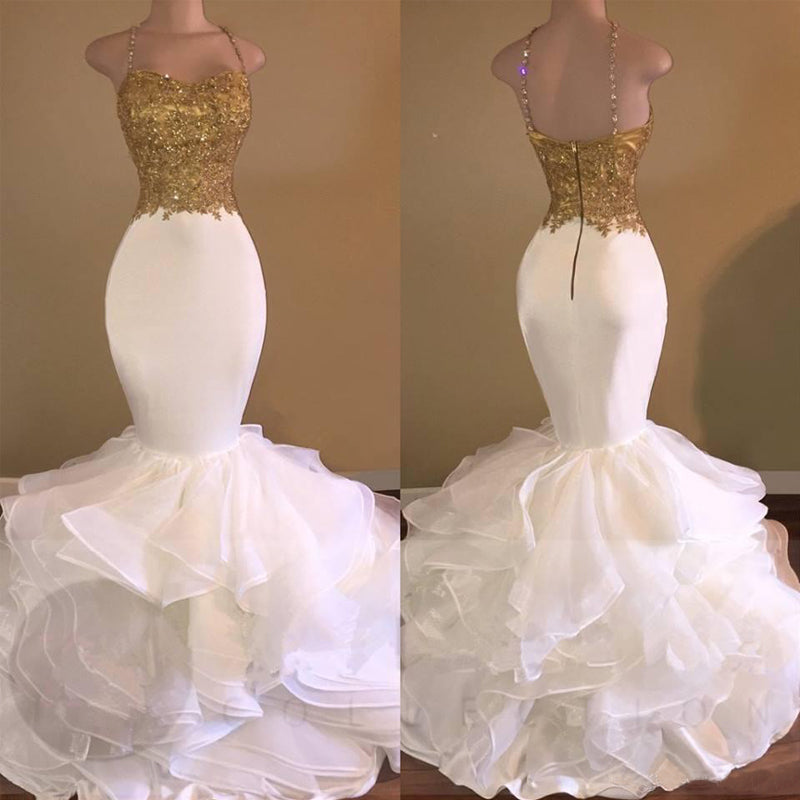 17d11acf1b Hover to zoom · Sexy Mermaid White Satin Prom Gowns Gold Sequin Spaghetti  Strap Evening Gown Tulle ...