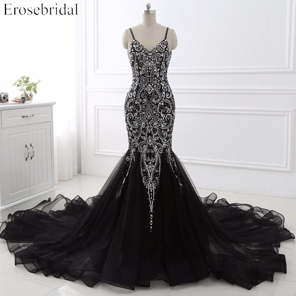 1fc1d61148 ... Sexy Mermaid crystal Sequined Evening Dress Deep Backless V-Neck  Sleeveless Open Back Court Train