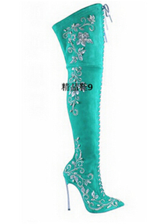 b82b029d82a ... Sexy Pointed Toe Embroidered Lace Up Thigh High Boots High Heels Red  Black Blue Suede Women ...