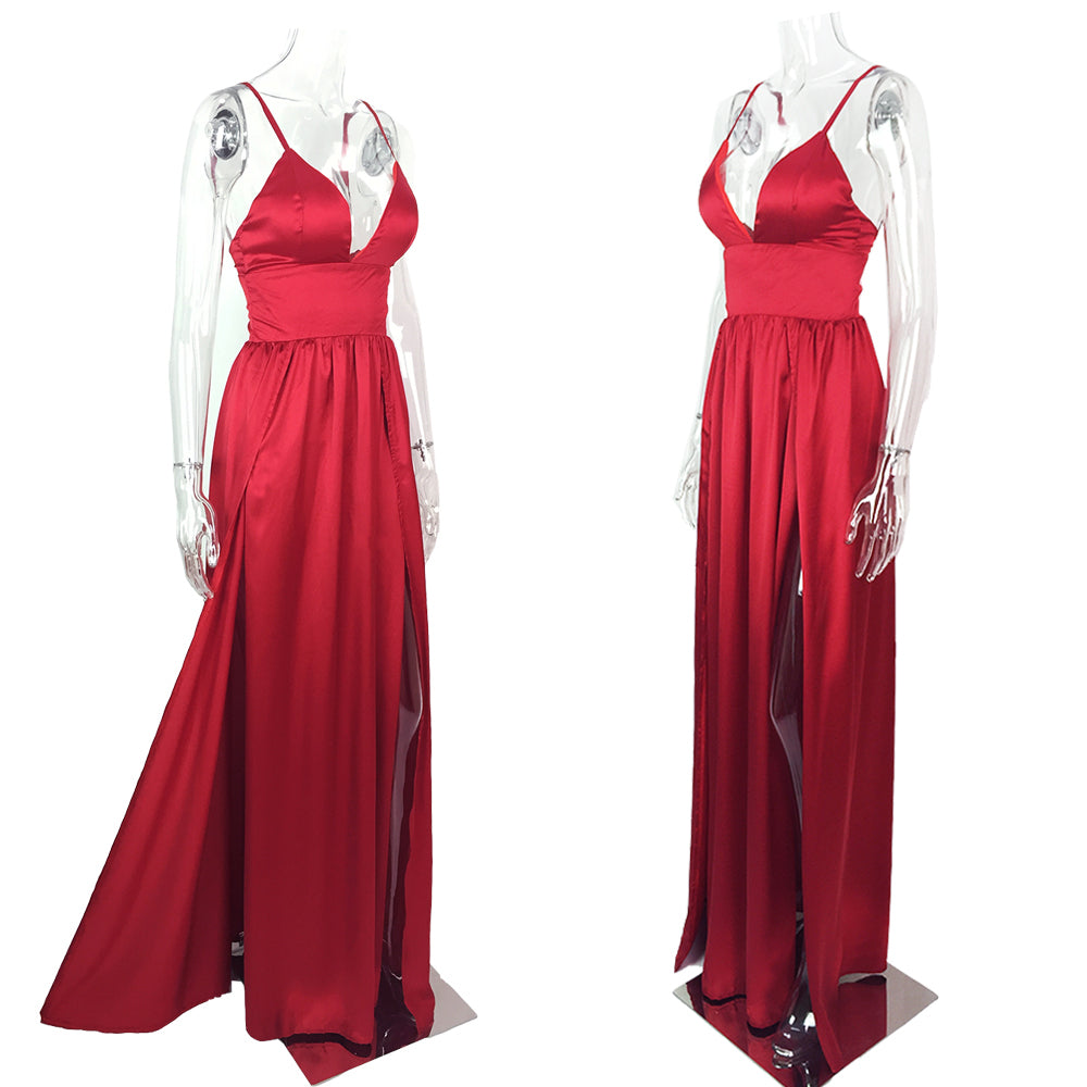 b18555790813a Sexy Red Satin V Neck Padded Maxi Dresses Two High Splits Backless High  Rise Floor Length Party Dress