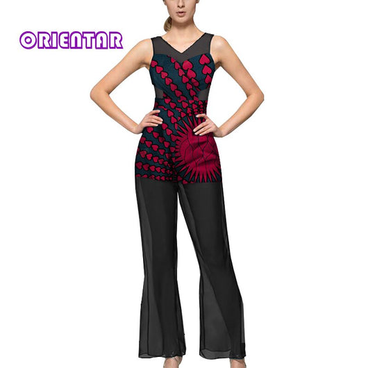 Sexy See-through African Jumpsuit for Women African Clothes Africa Kanga Batik Wax Print Black Yarn Lady Long Jumpsuits WY5450