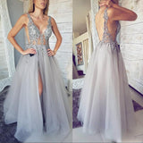 Sexy Side Slit Prom Gowns Sexy V-neck Backless Formal Wear Lace Appliques Beaded Party Dresses Illusion A-Line Evening Gowns