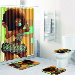 Sexy Skirt Girl Bathroom Curtain  Waterproof Fabric Blowing Bubble Gum Curls African Women Shower Curtain and carpet set