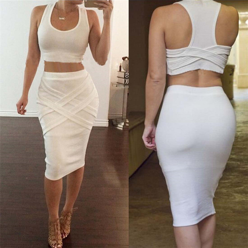 0df1dd89c Sexy Sleeveless 2 Piece Set Women Bandage Bodycon Evening Dress Package Hip  Clubwear Mini Crop Top. Hover to zoom