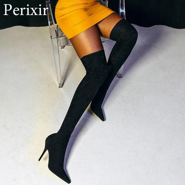 Sexy Sock Boots Stretch Long Boots Stiletto Women Fashion Shoes 2019 Spring/Autumn Over the knee high Boots Female Party shoes
