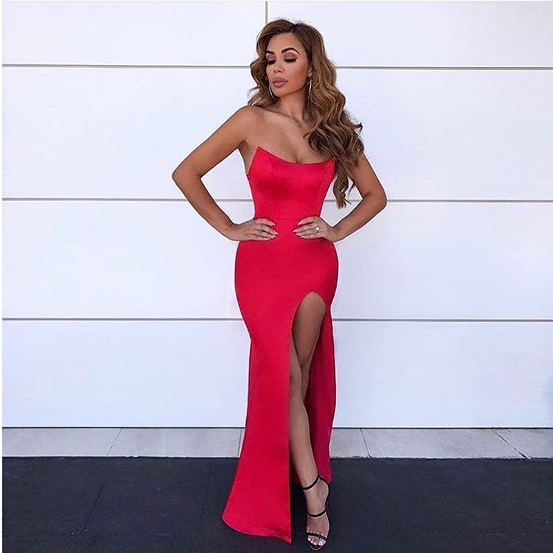 441c6a48b1a Hover to zoom · Sexy Strapless Red Party Dress Backless Padded Maxi Dress  Slit Side ...