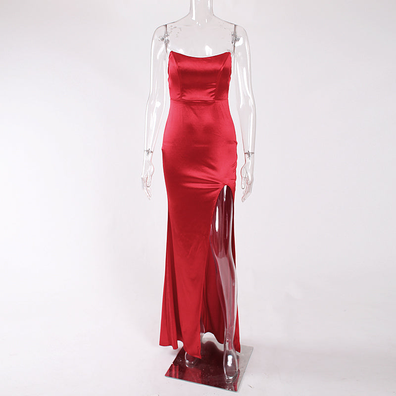 9ca9c135335 Hover to zoom · Sexy Strapless Red Party Dress Backless Padded Maxi Dress  Slit Side Gown Sleeveless Bodycon ...
