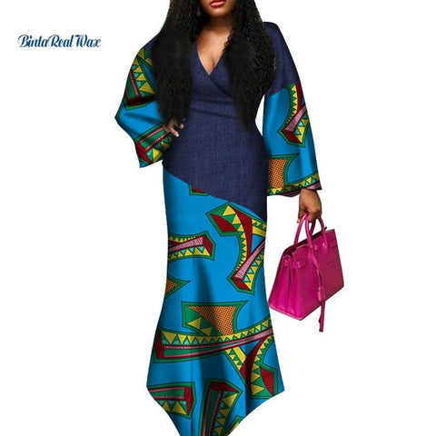 Sexy V-neck Dresses African Clothing Dashiki African Dresses for Women Bazin Riche Patchwork Print Long Dresses WY3646