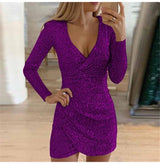 Sexy V-neck Sequin Dress Women Simple Elegant Long Sleeve Glitter Dress Office Fashion Party Club Shine Dress Vintage Vestidos