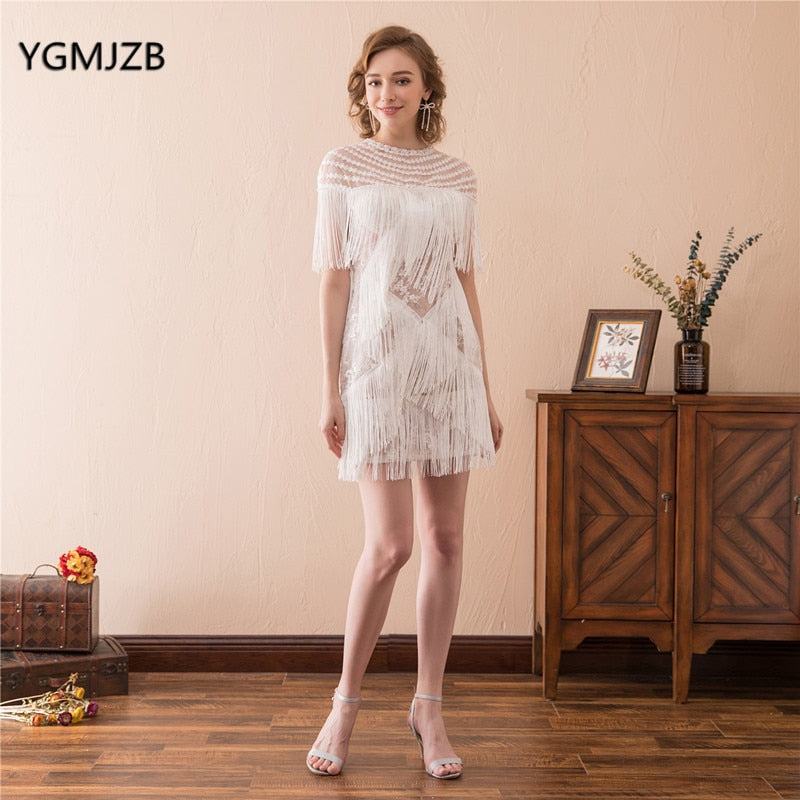 4027f948a16e6 Sexy White Cocktail Dress for Women High Fashion 2019 Tassel Short Prom  Dress Formal Evening Party Dresses Homecoming Dress