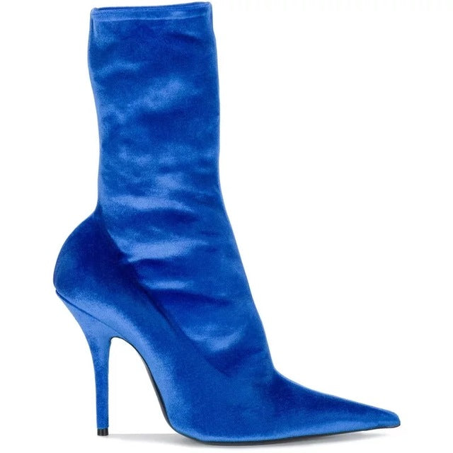 efa0ec6c87d Sexy Woman Bright Color Velvet Thigh High Boots Stiletto High Heels Pointed  toe Lady Floral Lace Over Knee Long Booties Shoes