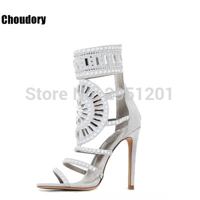 590f230265b7 ... Sexy Women Bling Bling Crystal Gladiator Sandals Stiletto Strappy Shoes  Round Shape Design Beaded High heel ...