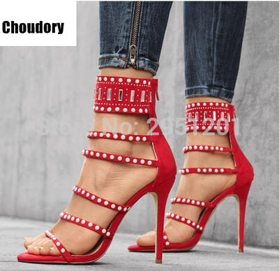 32fc79d8e3332 ... Sexy Women Bling Bling Crystal Gladiator Sandals Stiletto Strappy Shoes  Round Shape Design Beaded High heel ...