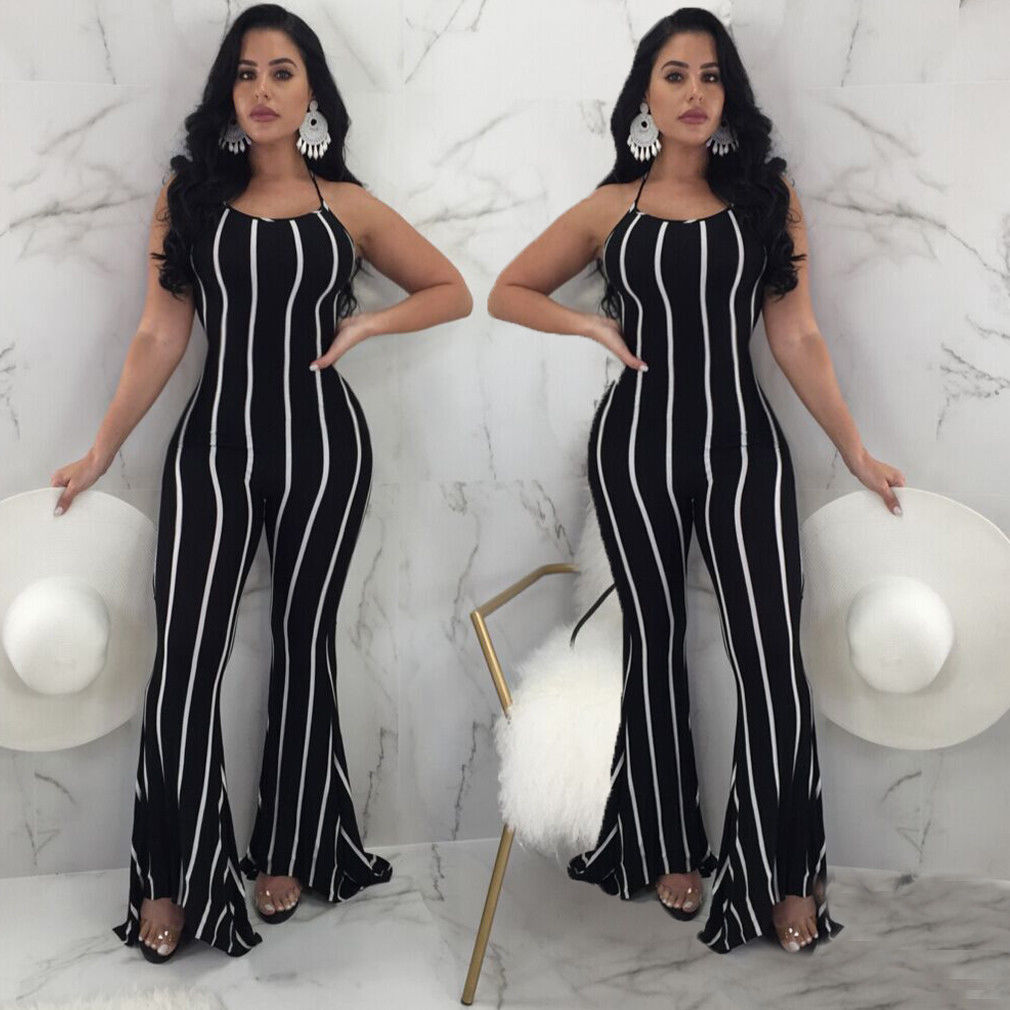 bac0526dd0 ... Sexy Women Ladies Striped Playsuit Party Jumpsuit Romper Long Trousers  Pants Clubwear Summer S-3XL ...