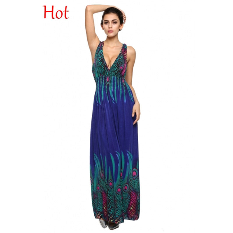 d7abeb77685 Hover to zoom · Sexy Women Maxi Dress Fashion V Neck Sleeveless Peacock  Printed ...