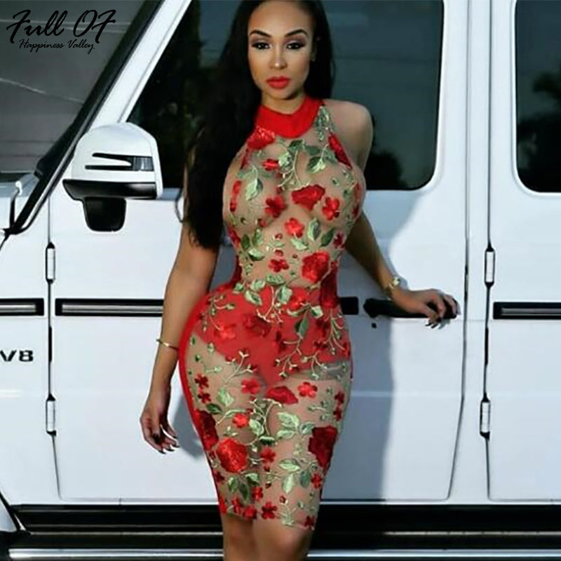 371b972cc1ba8 Sexy Women Mesh Embroidery Sequins Summer Dress 2018 Red Off Shoulder  Perspective Floral Nightclub Exotic Party Dresses vestidos