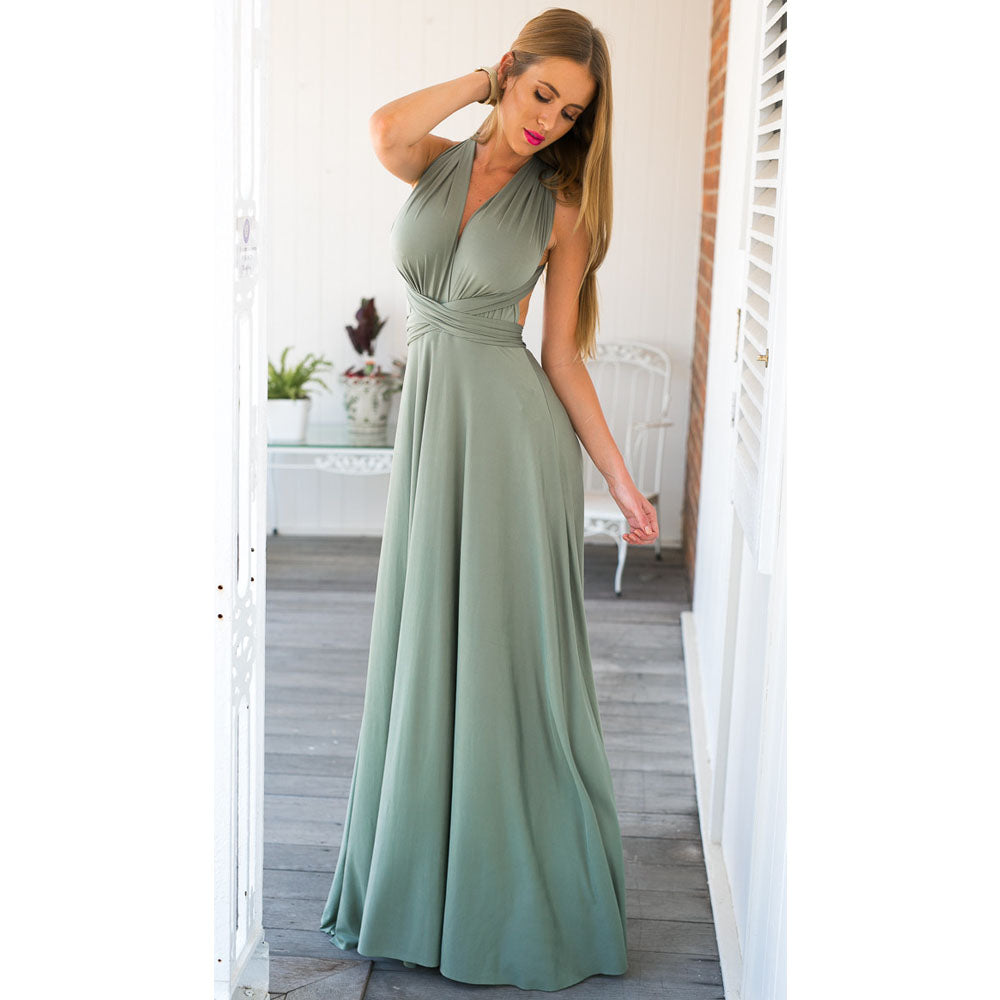 242aa843f994 Hover to zoom · Sexy Women Multiway Wrap Convertible Boho Maxi Club Red  Dress Bandage Long Dress Party Bridesmaids Robe