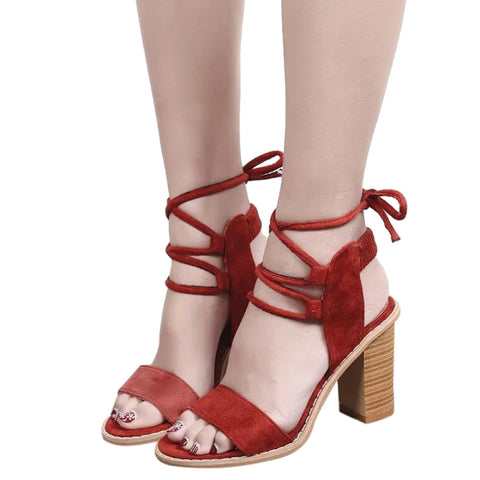3fb73c60ca24de Image of Sexy Women Pumps Open Toe Lace up Heels Sandals Woman sandals Thick  with Women ...