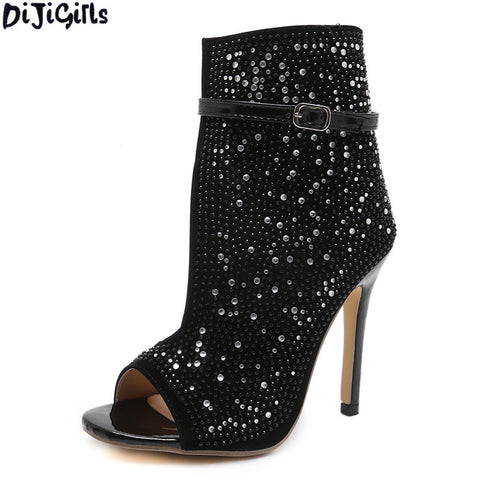 Sexy Women Shoes Rhinestone Decoration Thin Heel Pumps Shoes Summer Sandals Nightclub Party Women High Heels Shoes