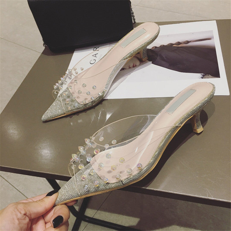 0e871c46557 ... Sexy clear PVC Jelly Sandals Crystal peep toe Transparent kitten Heels  Women Slippers rivets studded slides ...