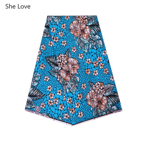 Image of She Love 1Yard Ankara African Polyester Wax Print Fabric Small Blue Floral Real Wax Fabric For Party Dress Making Home Textile