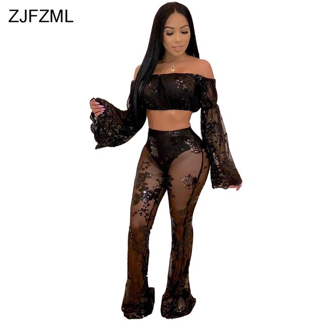55b3dc2ad8 Sheer Mesh Sequins Sexy 2 Piece Outfits For Women 2018 Slash Neck Flare  Sleeve Crop Top. Hover to zoom