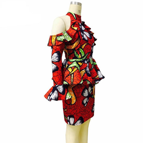 African clothing women clothing Off-the-shoulder dress autumn fashion ankara printing Casual Party Dresses wax fabric