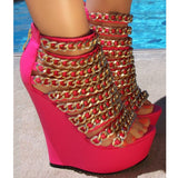 fashion explosion, pink PU, gold chain decoration, 14.5 cm wedges sandals shoe SIZE:34-45