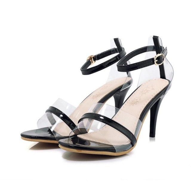 cfaadf9f202 ... Shoes Woman Pumps Sandals Transparent High Heels Summer Jelly Shoes  Crystal Open Toed Sexy Super High ...