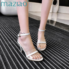 Shoes Woman Pumps Sandals Transparent High Heels Summer Jelly Shoes Crystal Open Toed Sexy Super High Thin Heels Sandals MAZIAO